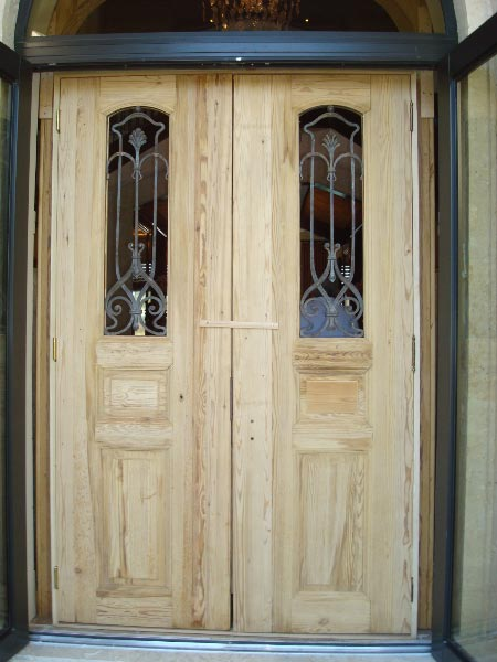 Antique Pine Doors with Original Jugendstil Iron Work (Exterior View) - Antique Pine Doors With Original Jugendstil Iron Work (Exterior View