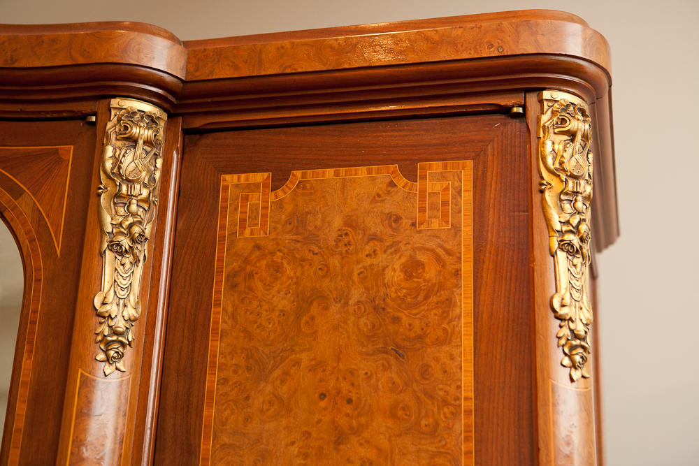 Exceptionnel French Antique Armoire With Mirrored Center Panel