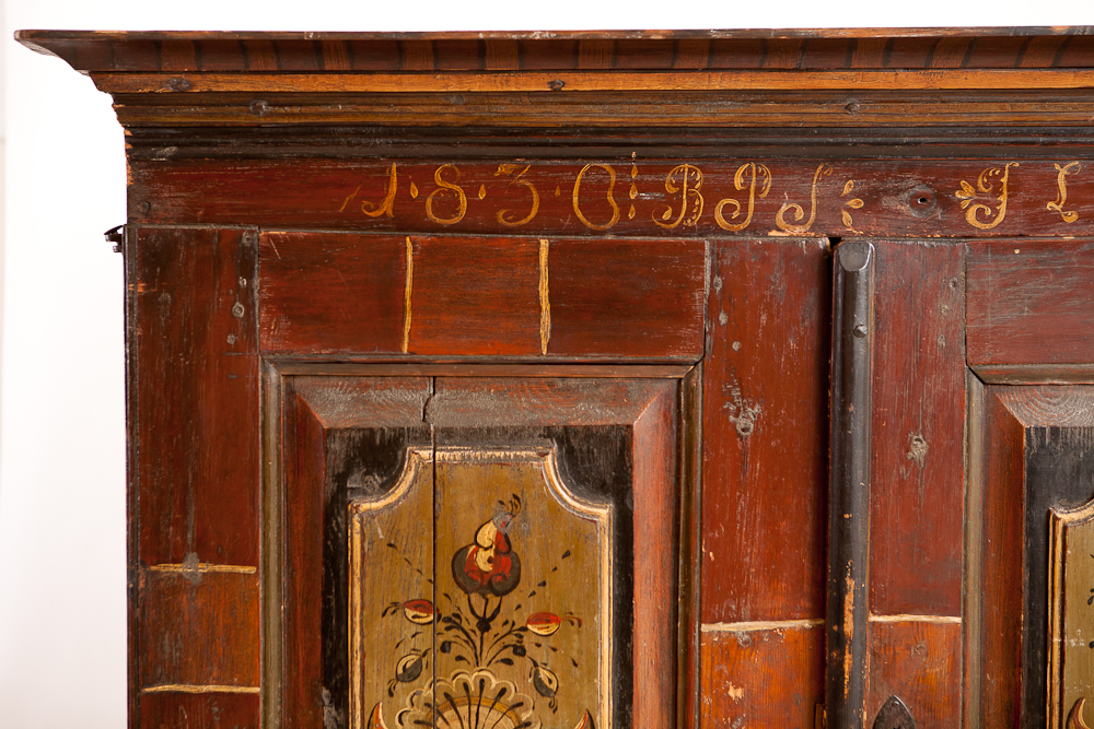 Early 19th Century Scandinavian Painted Armoire, painting dated 1836 - Early 19th Century Scandinavian Painted Armoire, Painting Dated 1836
