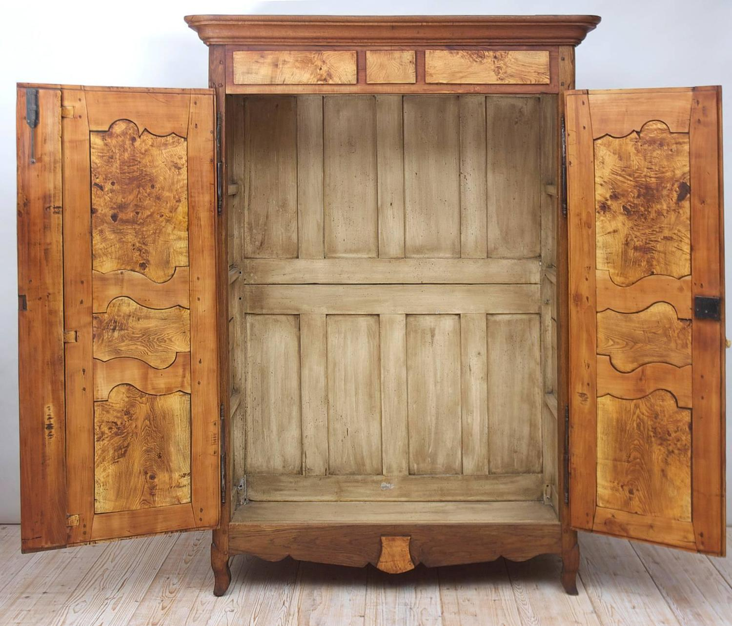 19th Century French Armoire In Walnut U0026 Cherry With Burl Olive Ash Panels