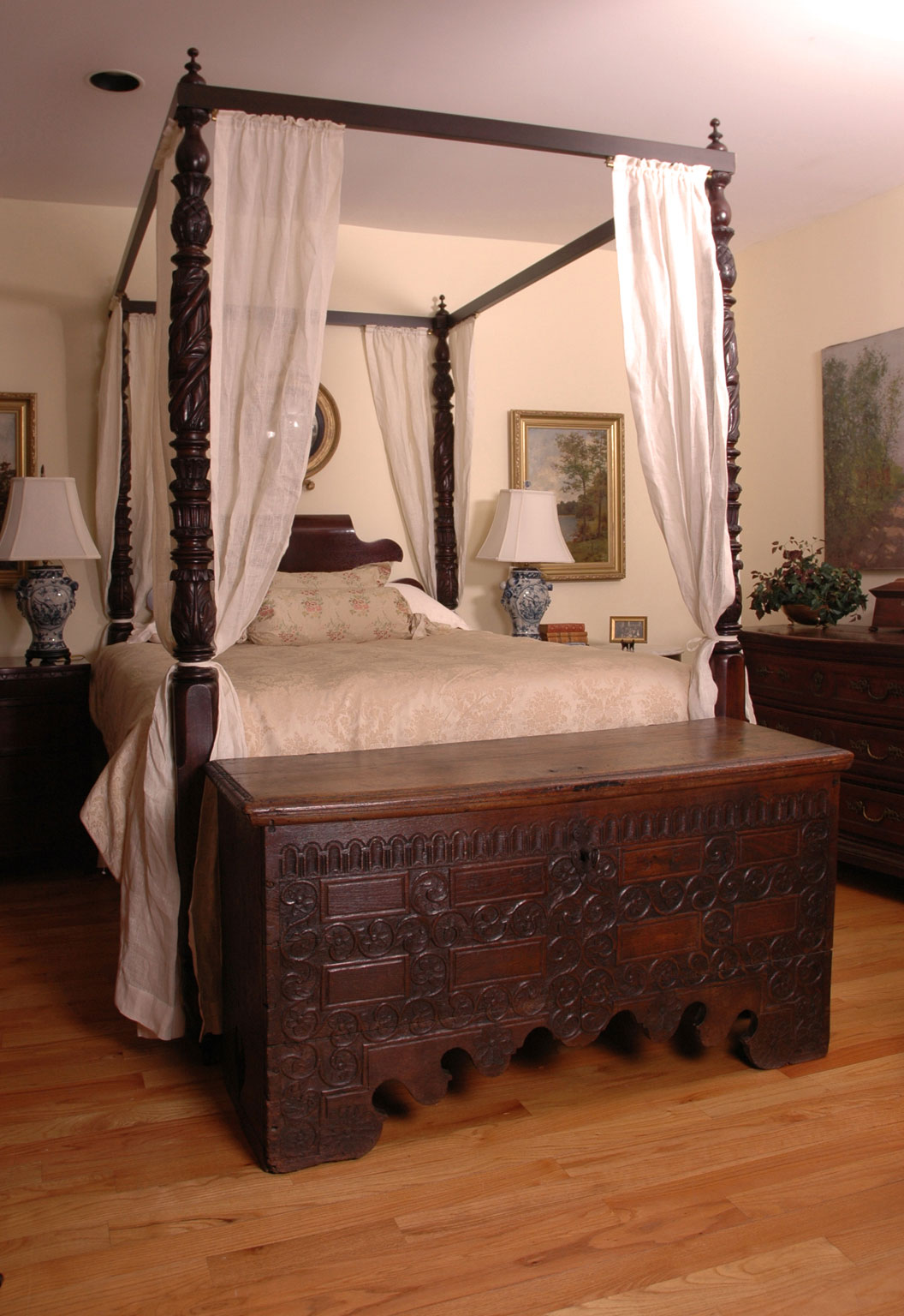 Four Poster Queen Bed Part - 26: Acanthus-carved Four Poster Federal Bed (Queen Size), Circa 1810