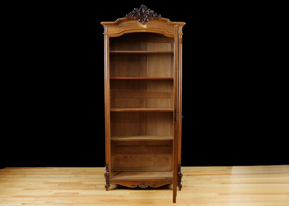 French Antique Bookcase In Walnut With Glass Panel