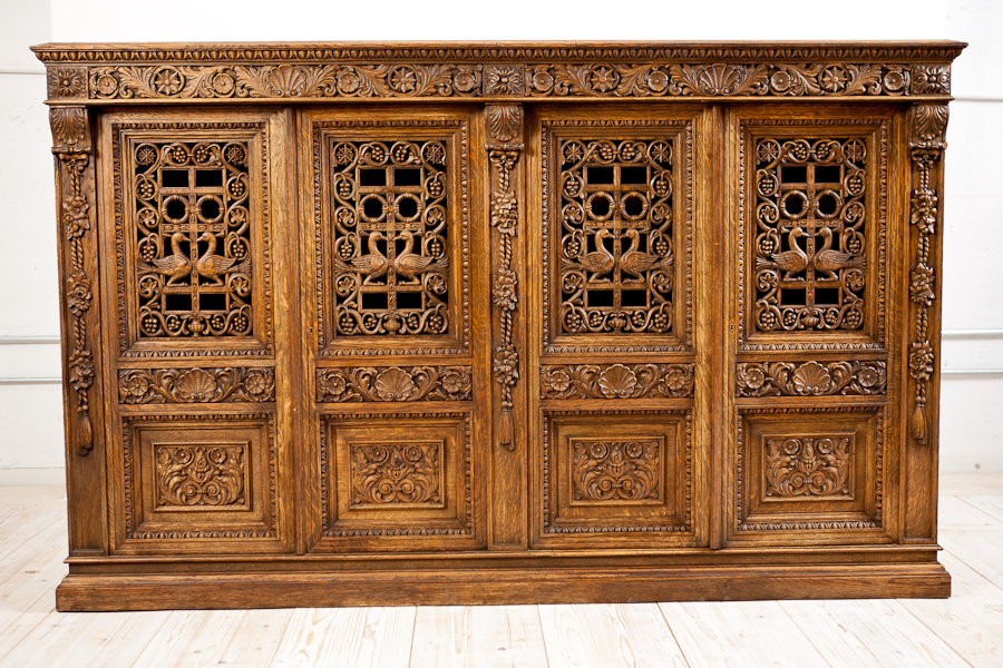 Genial French Antique Four Door Carved Cabinet With Pierced Panels