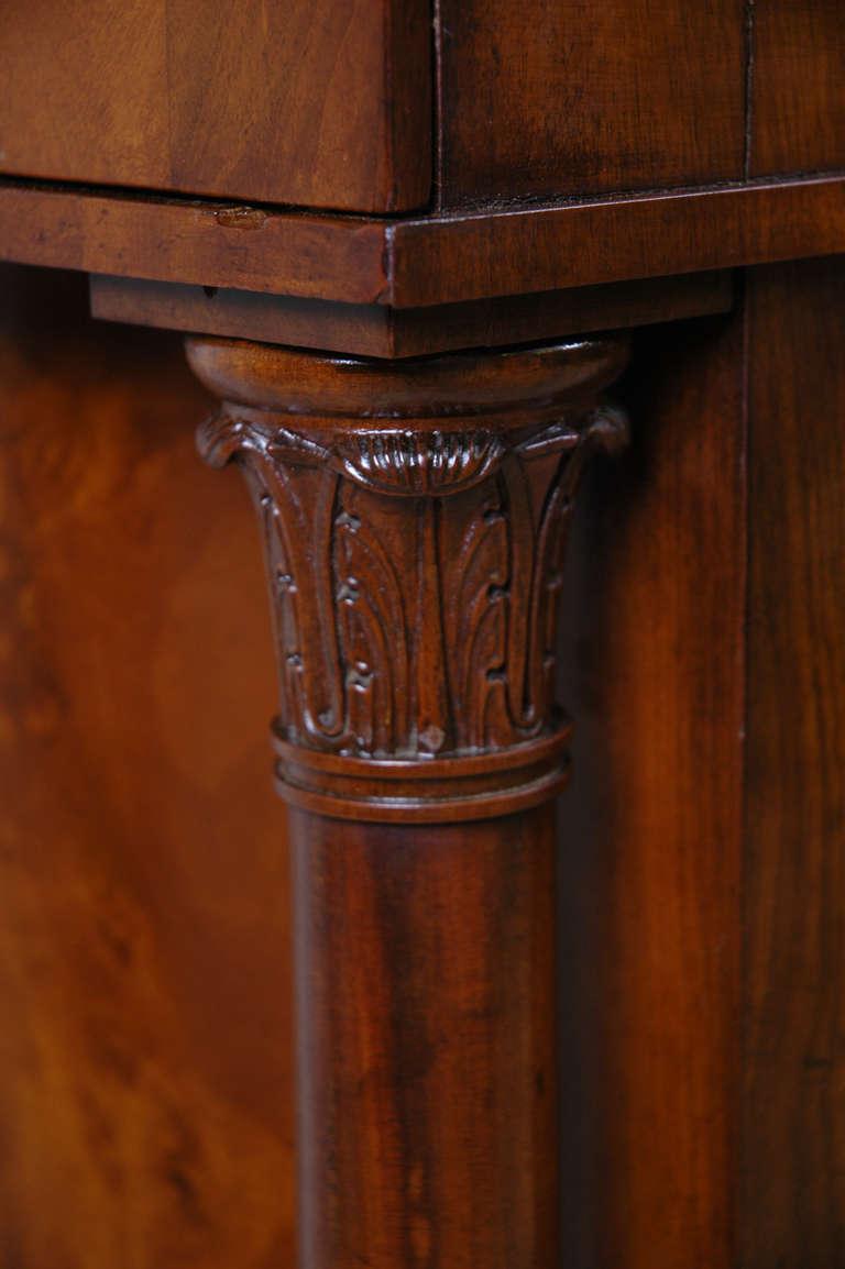 Antique Classical Danish Biedermeier Pedestal Cabinet In Cuban Mahogany  With Bowed Door And Full Columns, C.1830