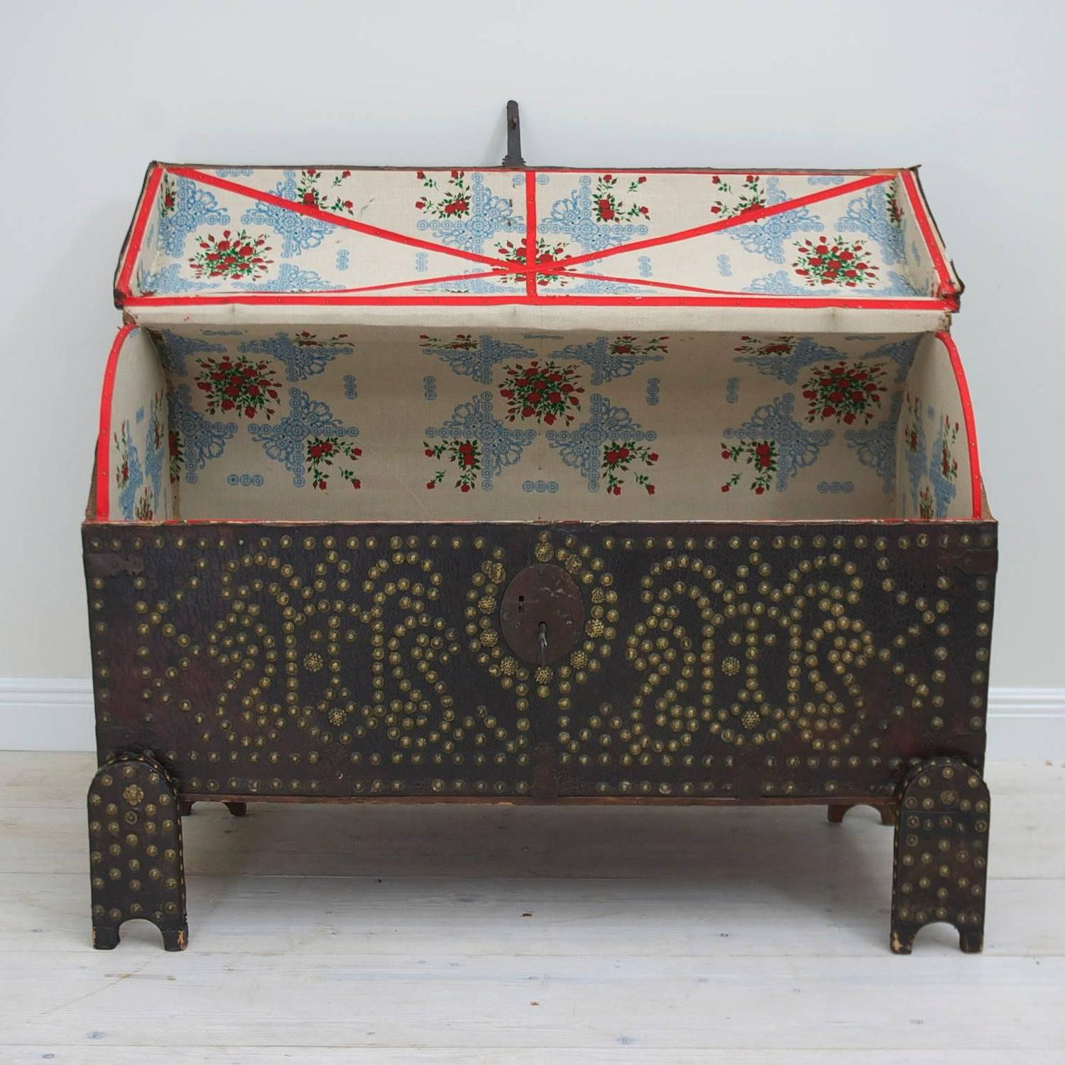 Decorative Nail Heads Antique Spanish Leather Bound Wedding Trunk On Stand With