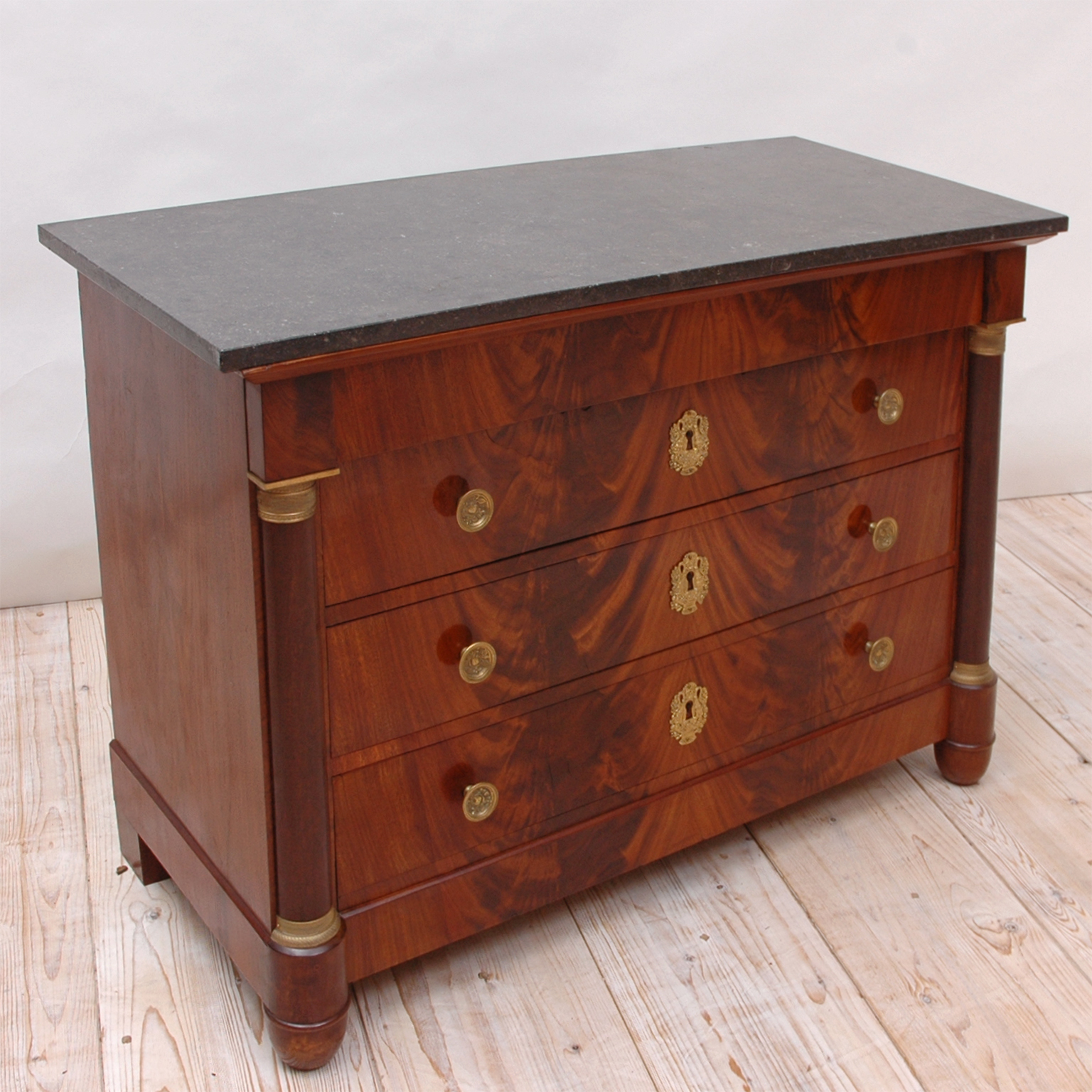 French Empire Chest of Drawers in Mahogany with Ormolu and Grey ...