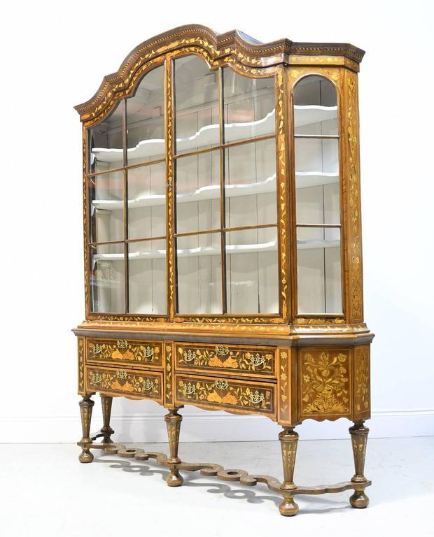 Dutch Vitrine Gl Display Cabinet With Marquetry Circa 1800
