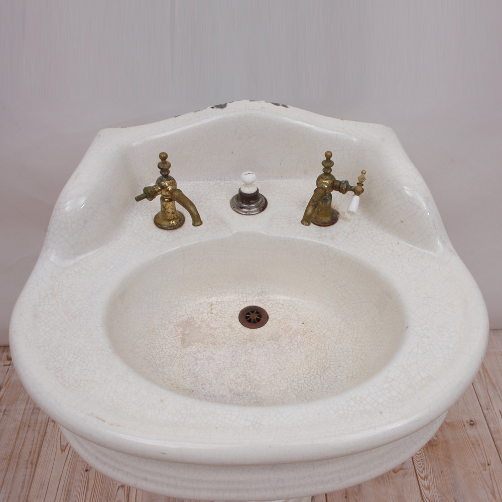 Victorian Pedestal Sink In Cast Iron With Porcelain, And Old Brass Spigots