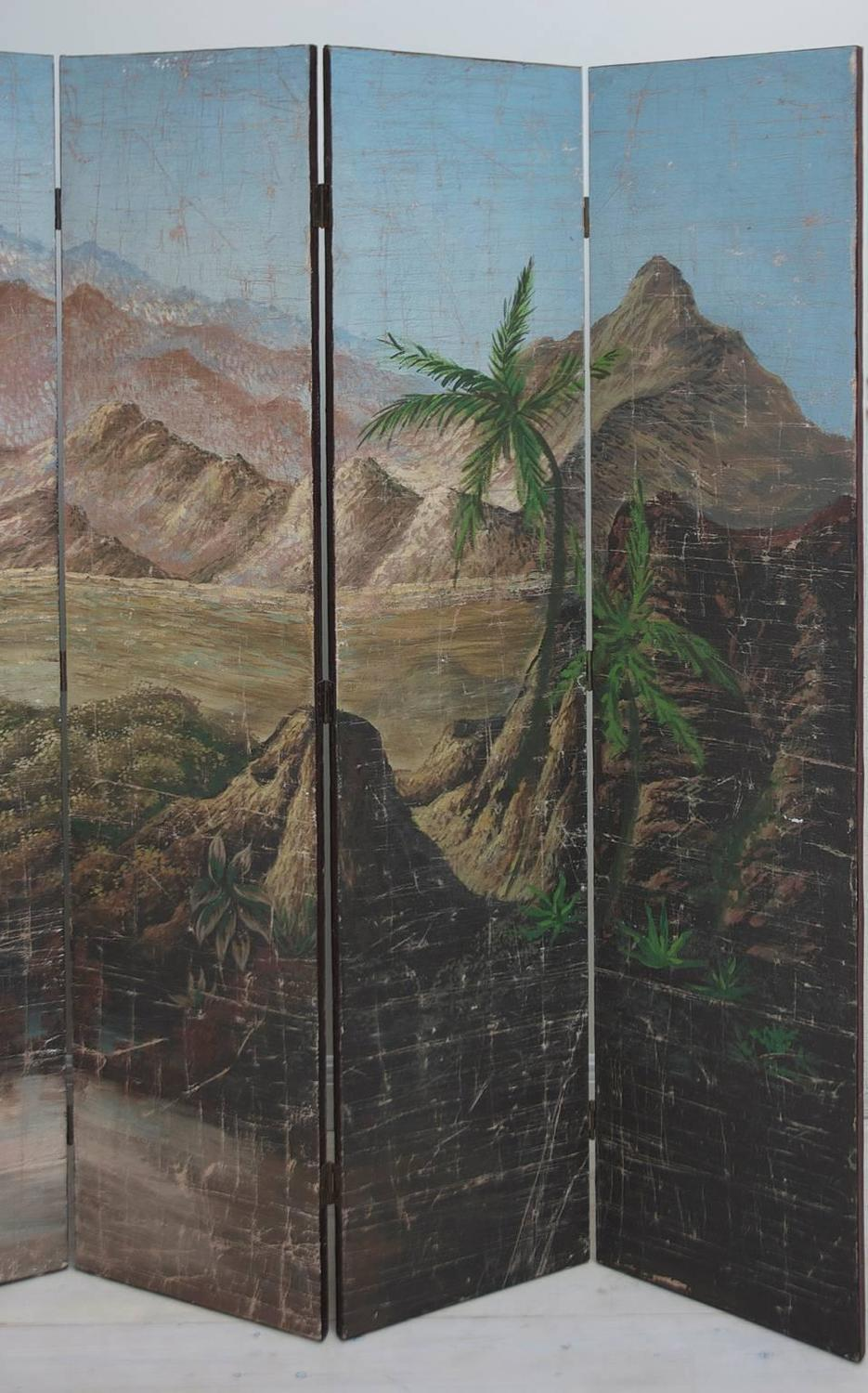 Large Painted Screen of the Sierra Maestra Mountains of Cuba circa