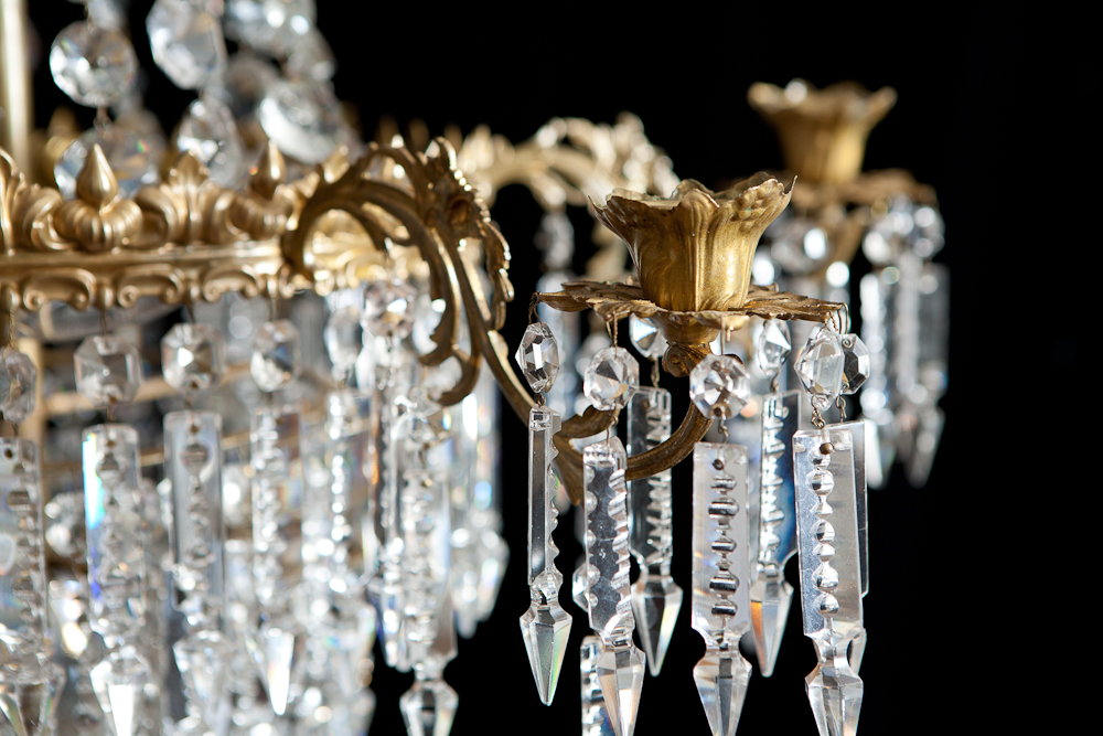 Antique 6 light chandelier with crystal prisms c1880 mozeypictures Choice Image