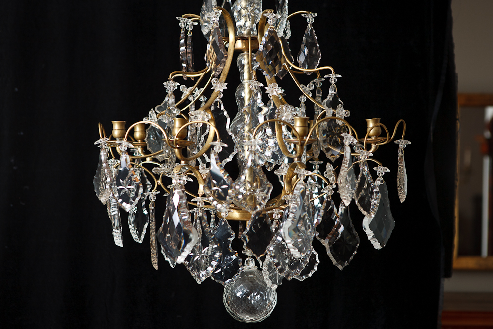 Antique 19th Century Six Light Cut Crystal and Glass Chandelier - Antique 19th Century Six Light Cut Crystal And Glass Chandelier