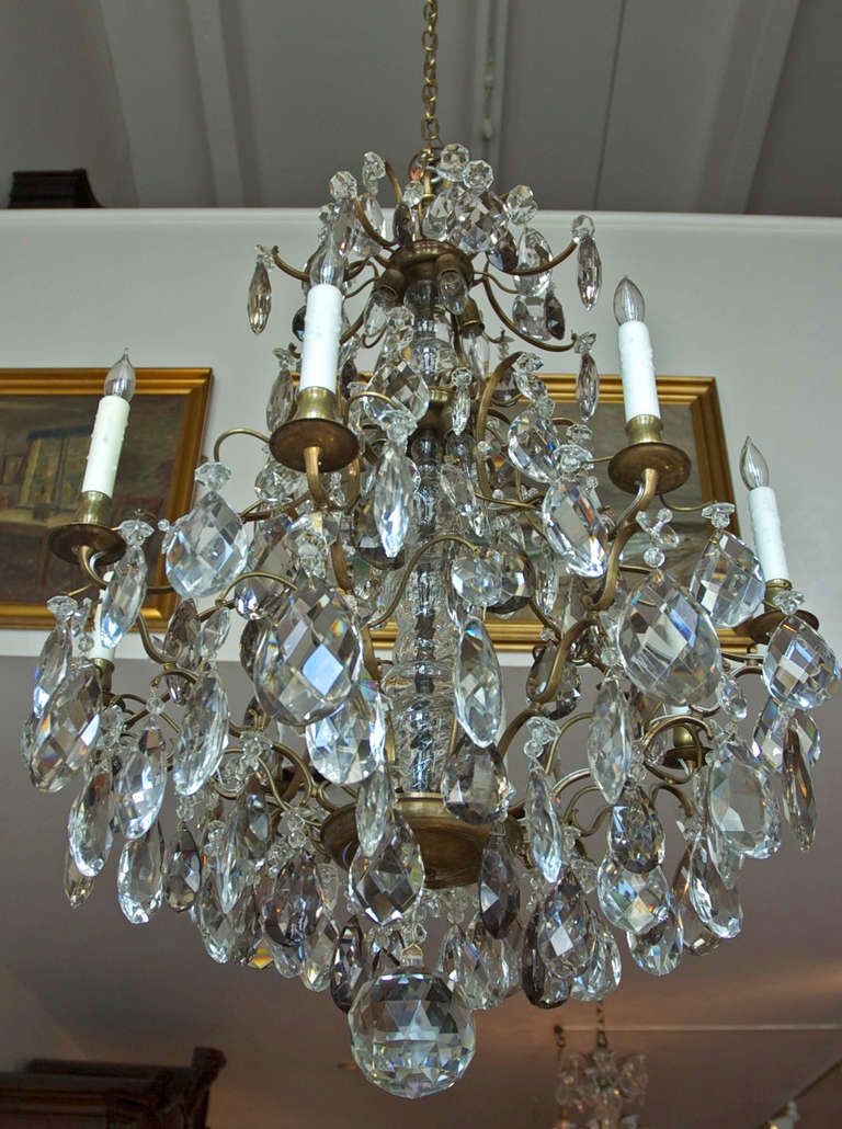 Rococo Style Swedish Crystal Chandelier With Sixteen Lights C 1910