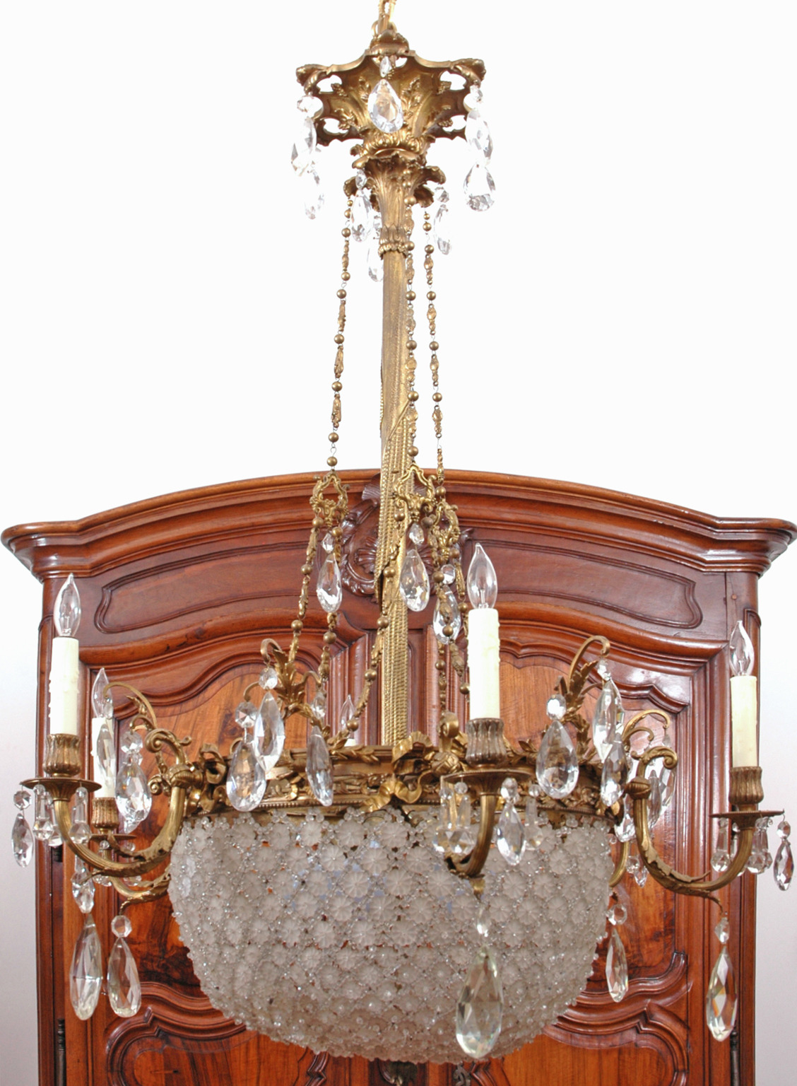 Large Baccarat Inspired Belle Époque Leaded Cut Glass and Crystal Chandelier - Baccarat Style Bronze And Crystal Chandelier - Bonnin Ashley