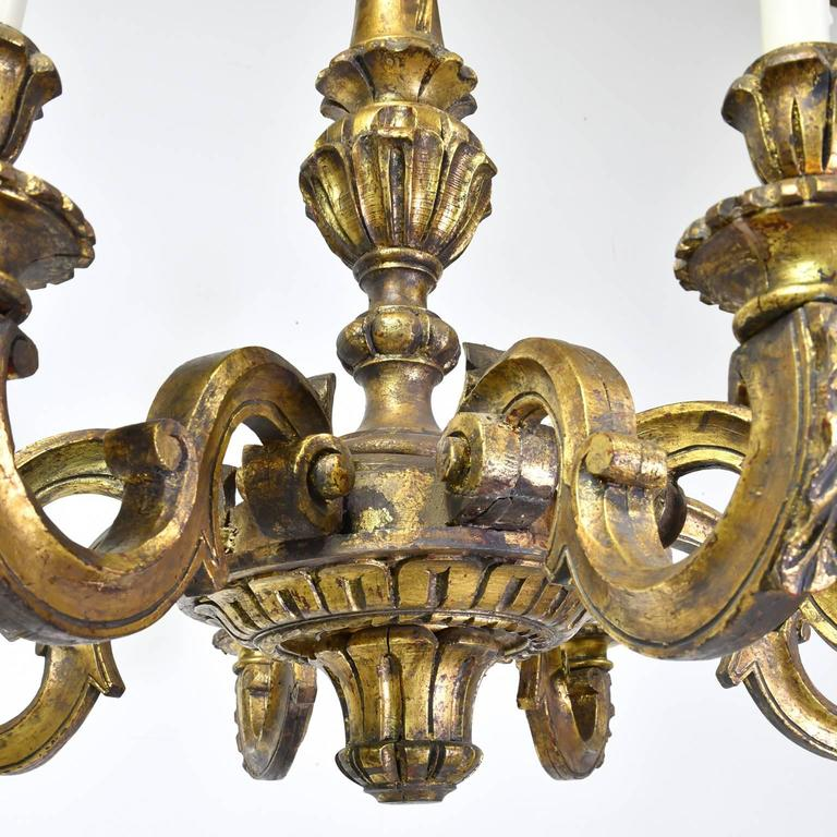 French Baroque-Style Chandelier in Carved Wood with Eight Lights circa 1910 & French Baroque-Style Chandelier in Carved Wood with Eight Lights ...
