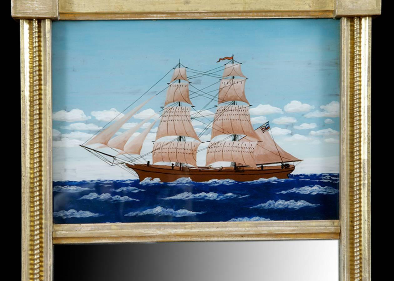American Federal Gold Leaf Mirror With Reverse Glass Painting Of Schooner C 1790