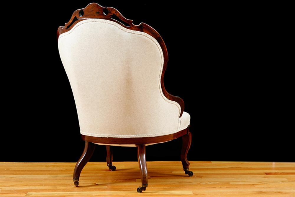 English Victorian Upholstered Slipper Chair In Mahogany, Circa 1860