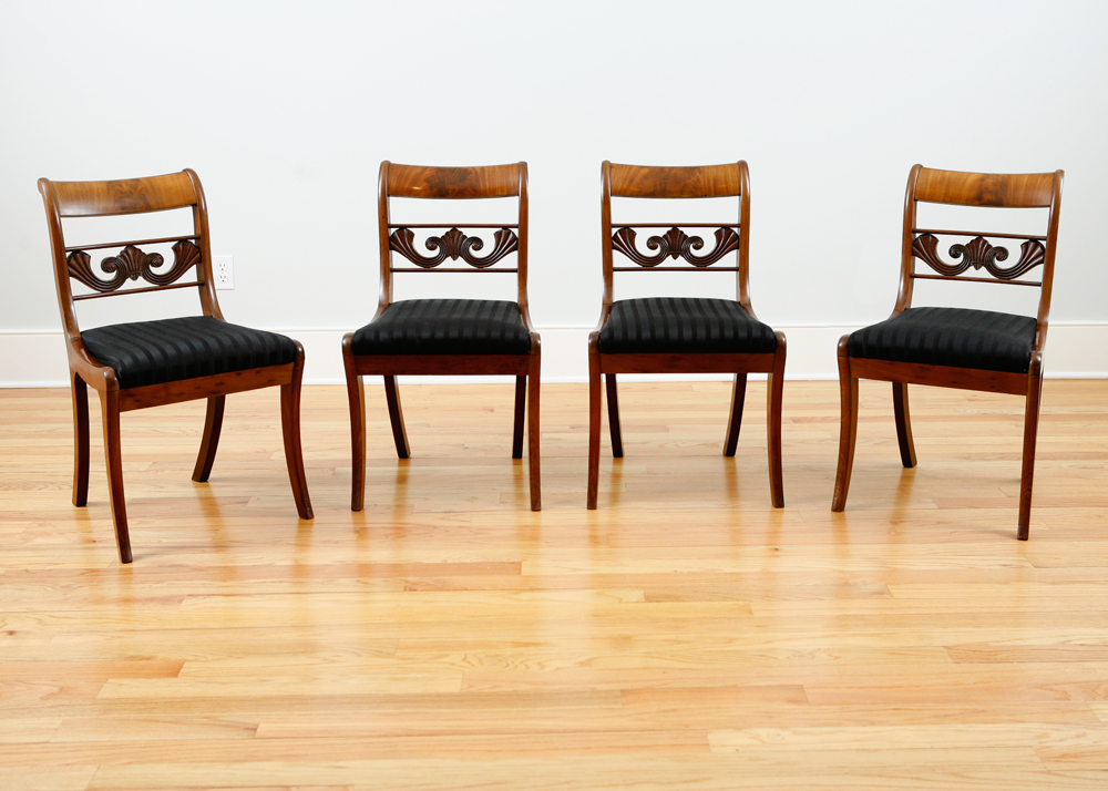 Set Of 4 Beidermeier Dining Chairs In Mahogany Bonnin Ashley Antiqu