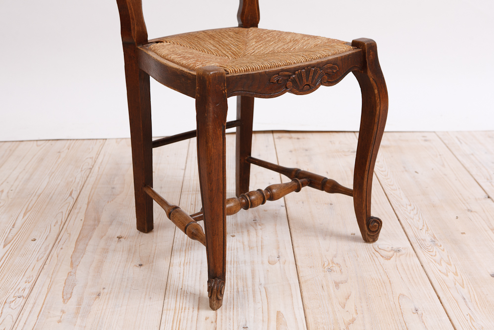 Set of 6 French Provincial Dining Chairs in Walnut with Rush