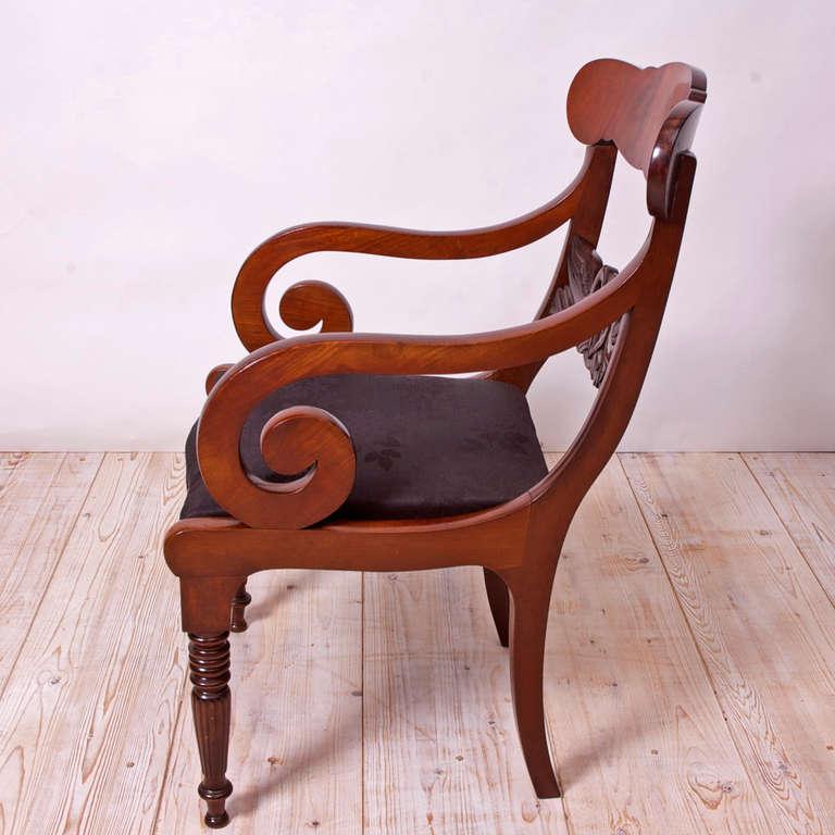 pair of danish empire fauteuils with swan motif circa 1830 bonnin ashley antiques miami fl. Black Bedroom Furniture Sets. Home Design Ideas