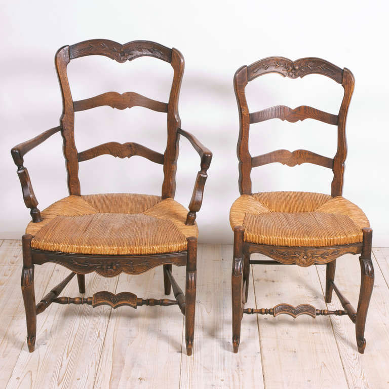 Set Of Eight 8 French Provincial Louis Xv Style Dining Chairs C 1830