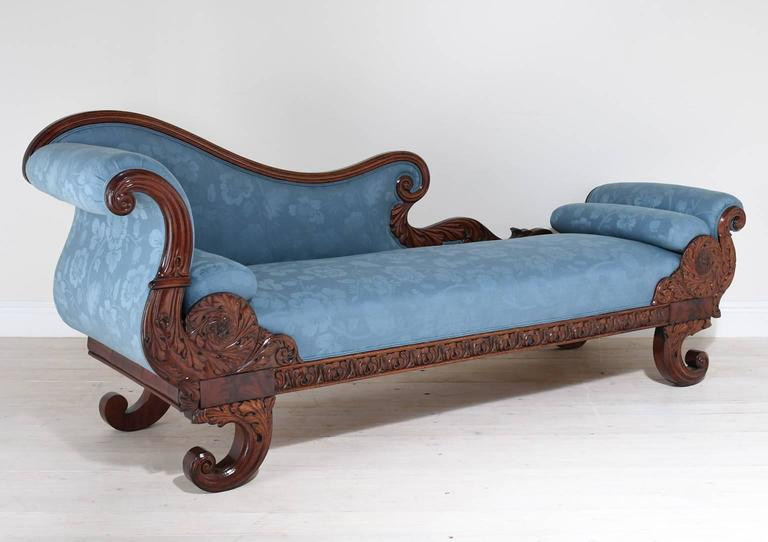 19th Century Empire Recamier or Fainting Couch in Mahogany with Upholstery : fainting chaise - Sectionals, Sofas & Couches