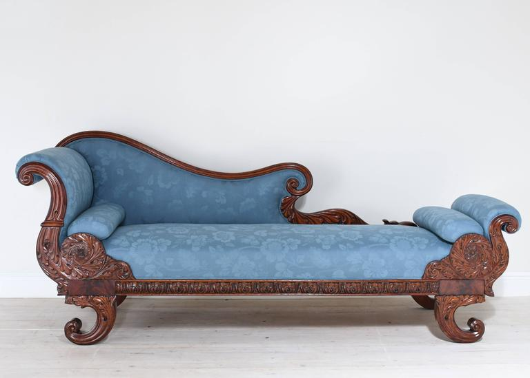19th Century Empire Recamier Or Fainting Couch In Mahogany With Upholstery