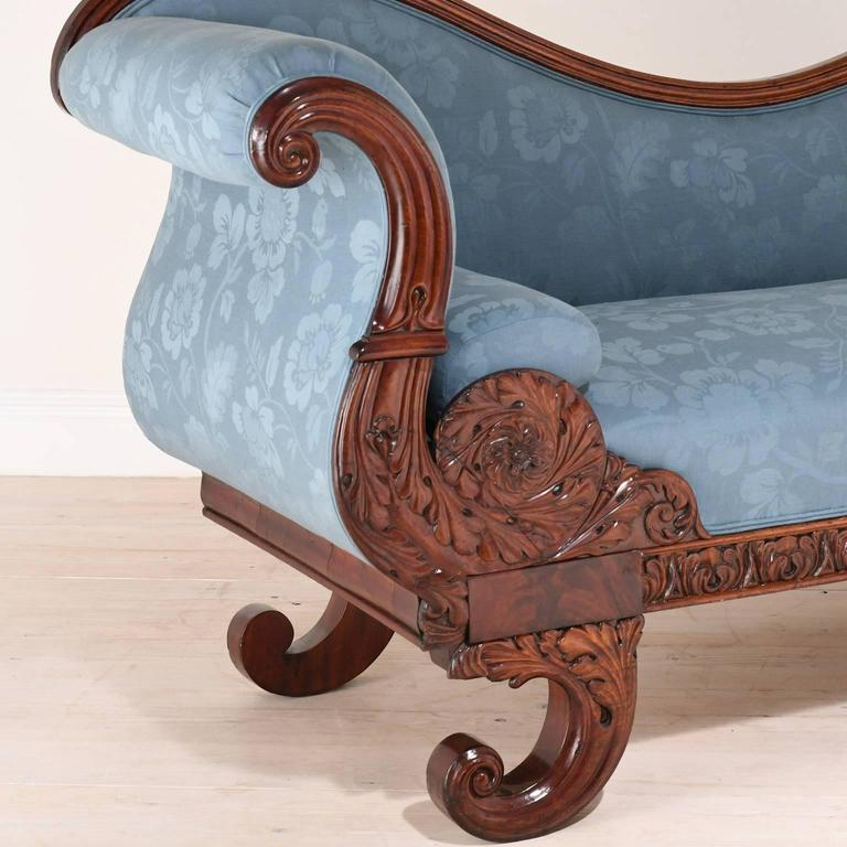 19th century empire recamier or fainting couch in mahogany for Antique fainting couch chaise