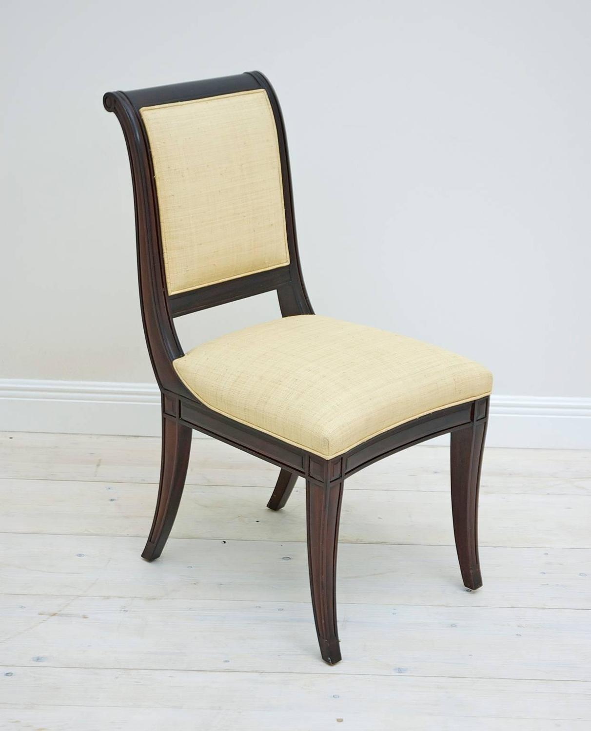 Set Of 12 British Colonial Style Dining Chairs Upholstered In Madagascar