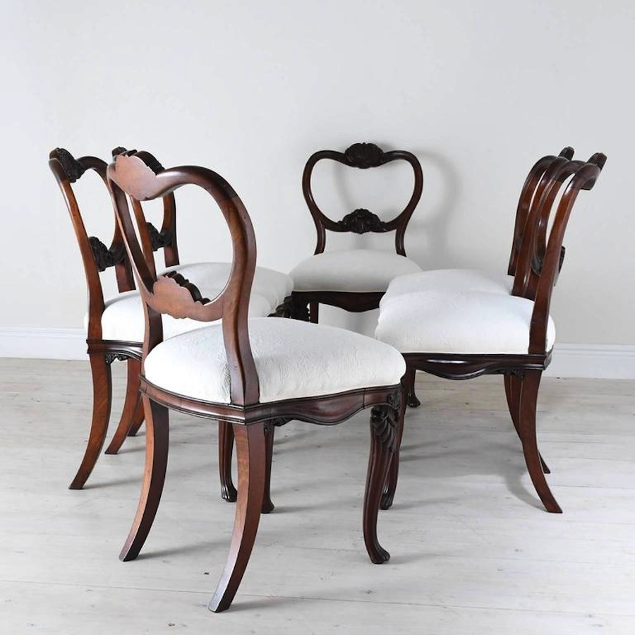 Set Of Six Flemish Dining Chairs With Carved Balloon Back And Upholstered  Seat