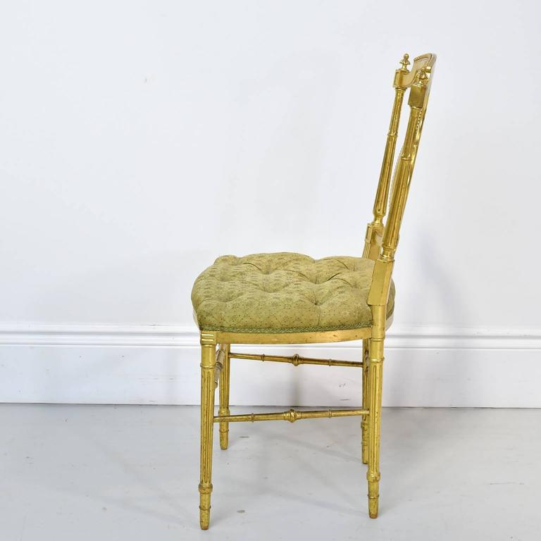 Gilded Louis XVI Style Chair With Lyre Back U0026 Upholstered Seat, France,  Circa 1910
