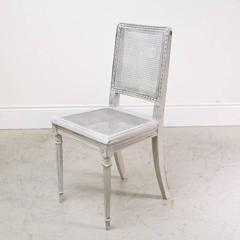 Set Of Six Painted French Louis XVI Style Dining Chairs With Cane Back U0026  Seat, France, Circa 1900