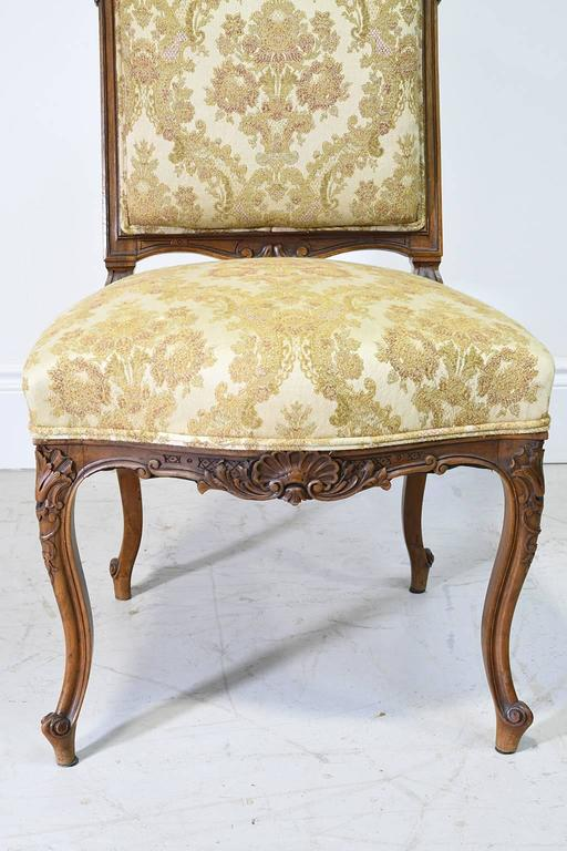 Pair Of French Louis XV Style Carved Walnut Chairs With Upholstery, Circa  1860