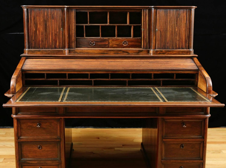 french napoleon iii tambour rolltop desk in rosewood circa - Rolltop Desk