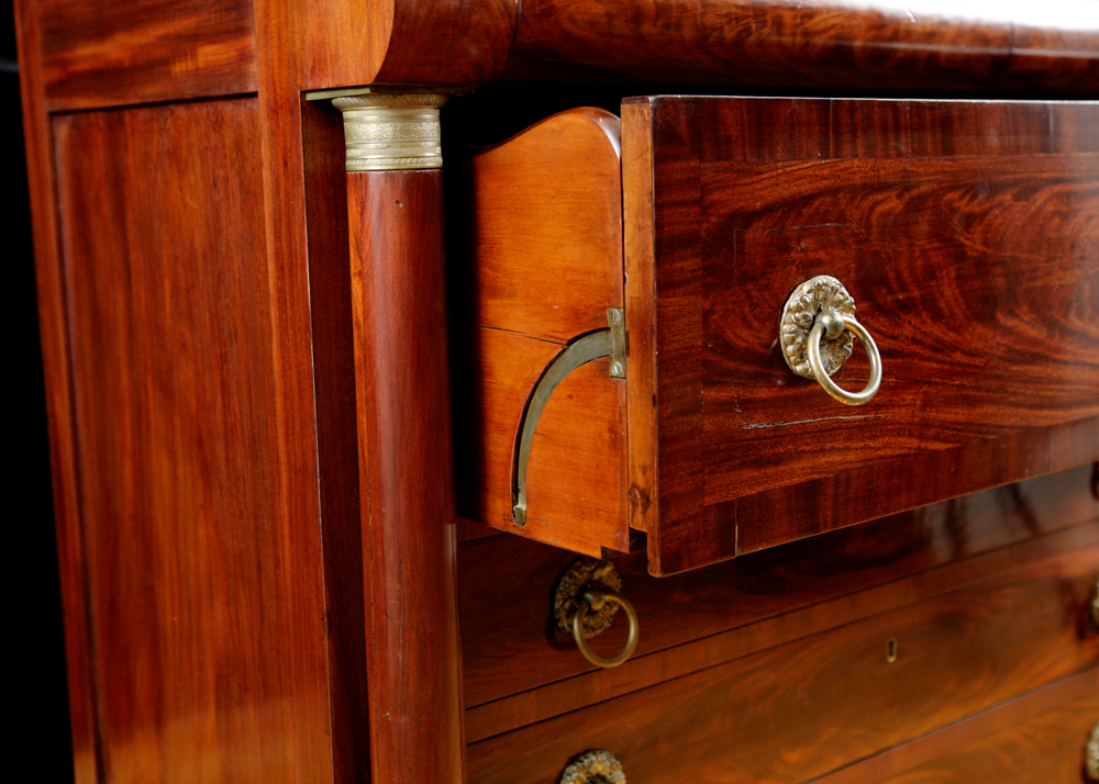 American Classical Empire Secretary Bookcase In Mahogany Attributable To John Meads C 1825