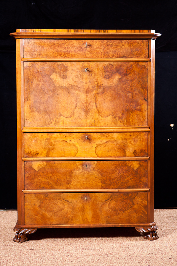 Fall Front Secretary In Figured Walnut C 1850