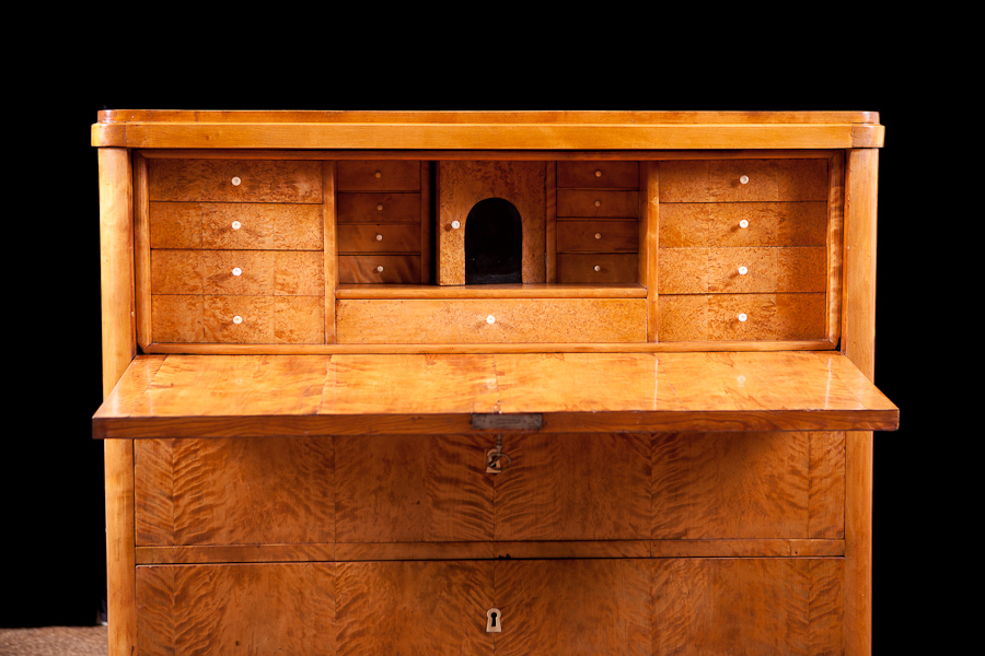 Biedermeier Fall Front Secretary In Birch Sweden Circa 1830