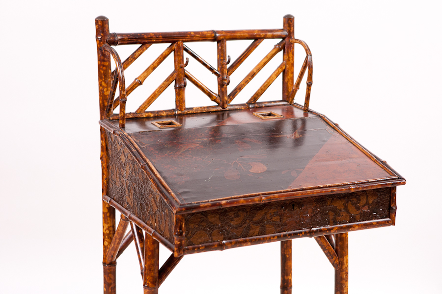 French Bamboo Slant Top Desk With Original Anning C 1880
