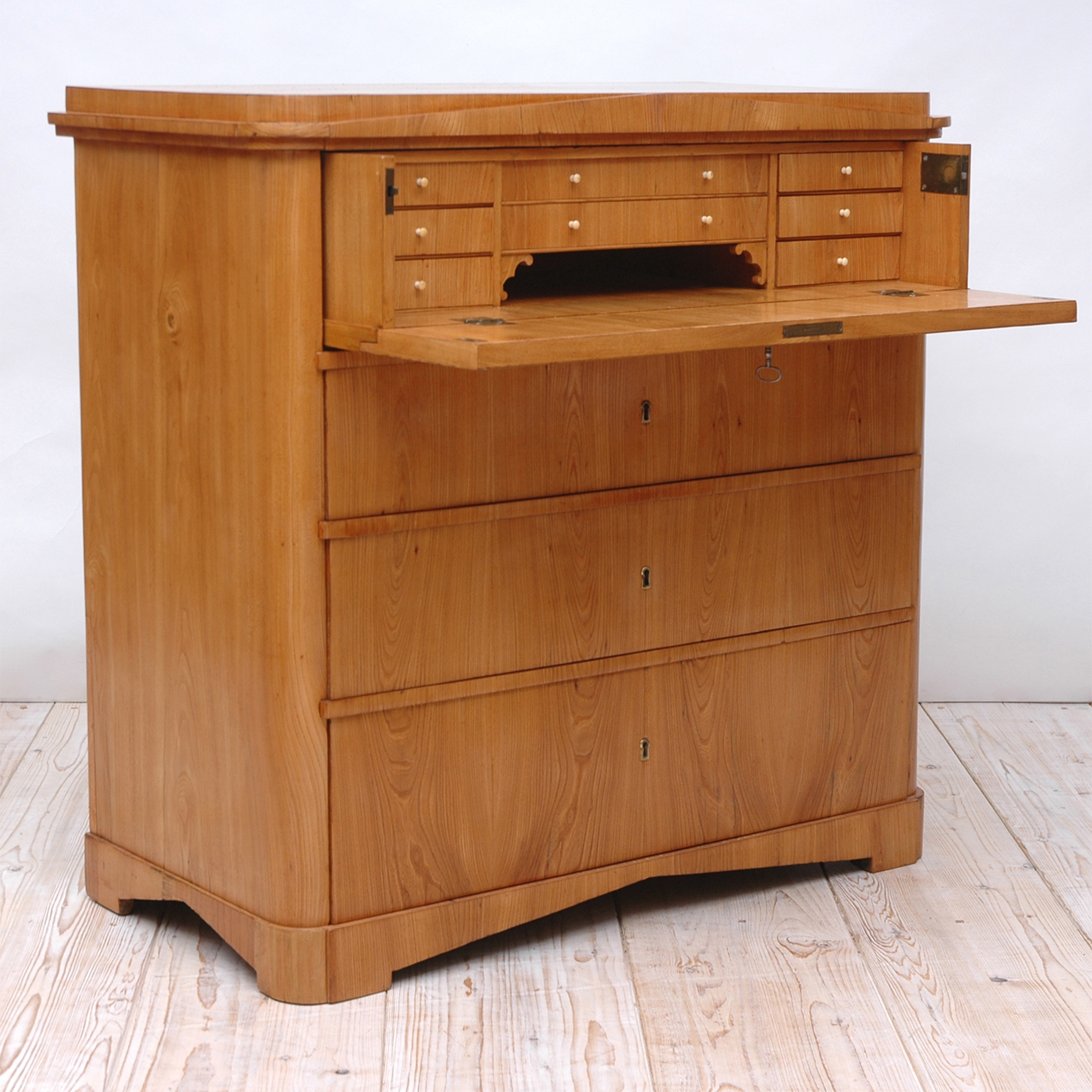 Biedermeier Ash Chest Of Drawers With Fold Down Drawer Front Secretary