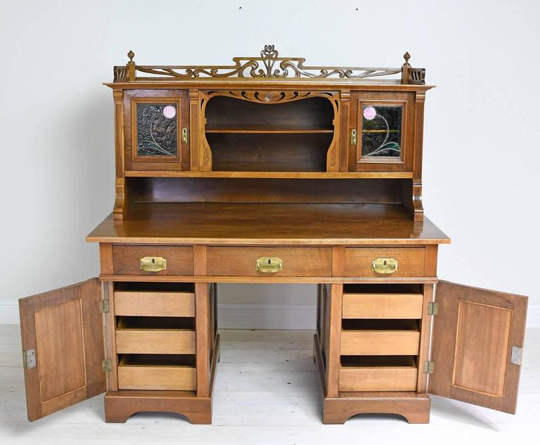 Art Nouveau Desk With Bookcase In Walnut Stained Glass Circa 1900