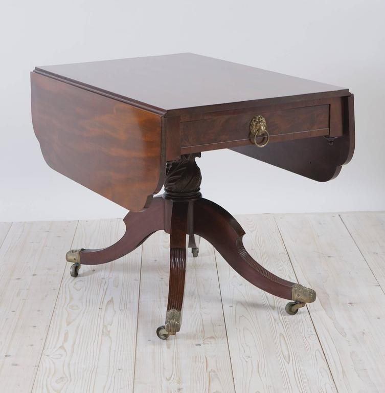 American Federal Drop Leaf Breakfast Table In Mahogany With Saber Legs