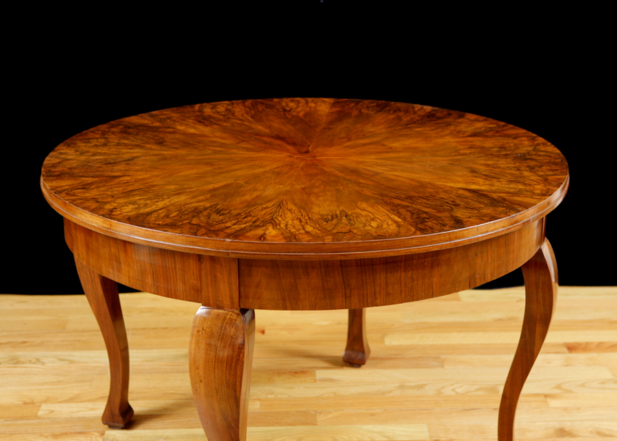 French Table In Walnut With Burled Walnut Top C Bonnin - Burled walnut dining table