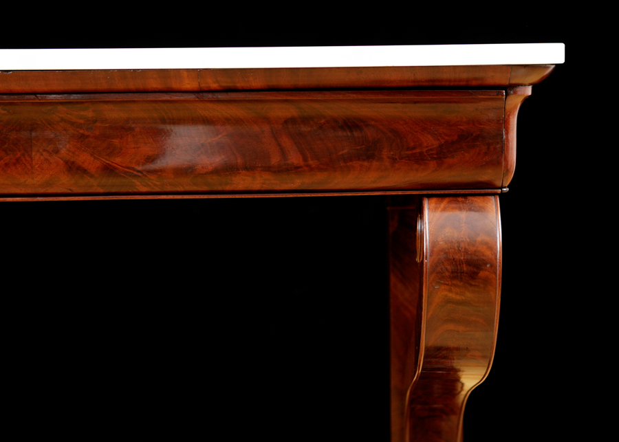 Antique French Console Table In Mahogany With White Marble, C. 1825