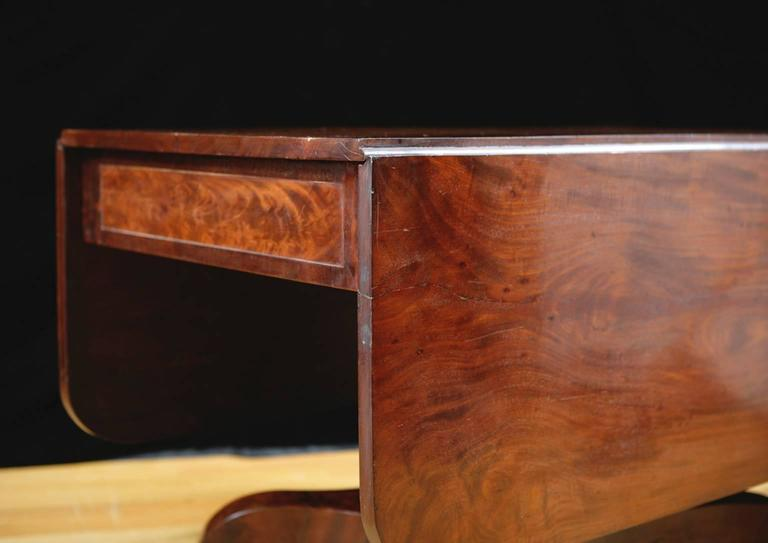 American Empire Greek Revival Drop Leaf Dining Table In Mahogany C.1830