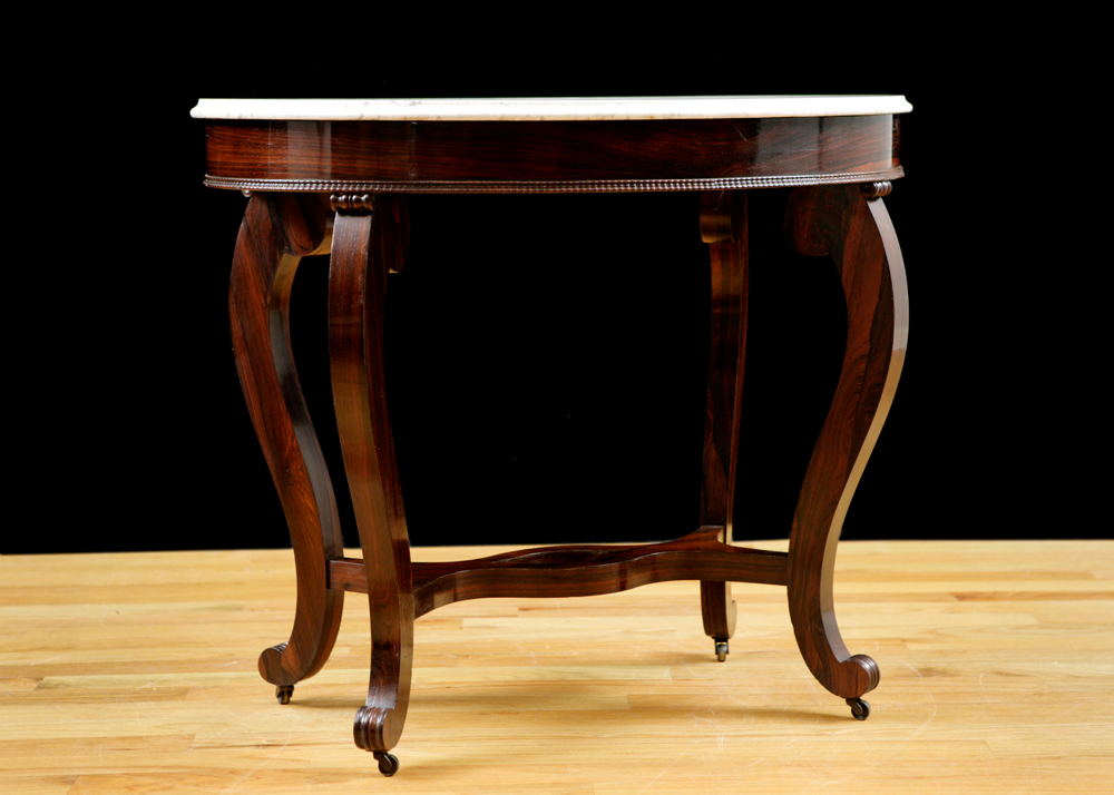 Side Table In Rosewood With White Marble, Attributable To Meeks U0026 Sons, NY,  C. 1850