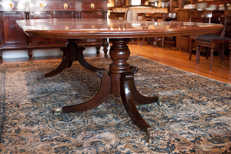 American Federal Revival Double Pedestal Dining Table In Mahogany C 1890