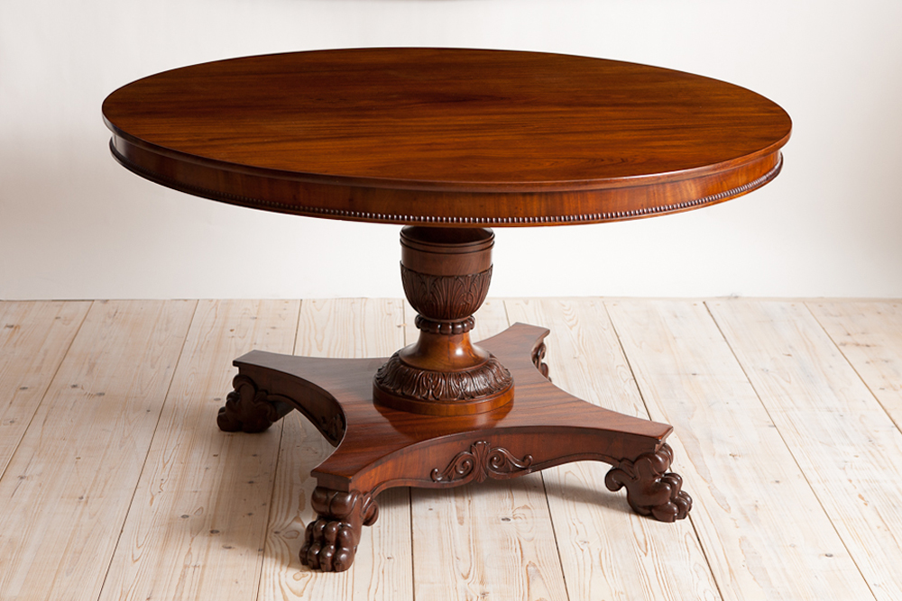 Good Round Center Pedestal Table In Mahogany, Northern Europe, C. 1850