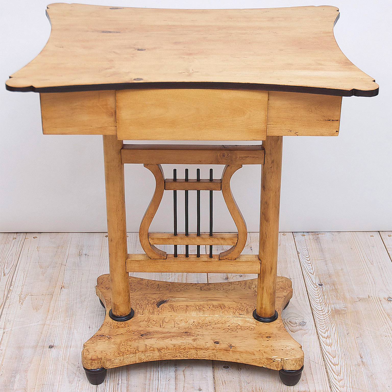 Biedermeier Birch Table With Lyre Pedestal And One Drawer