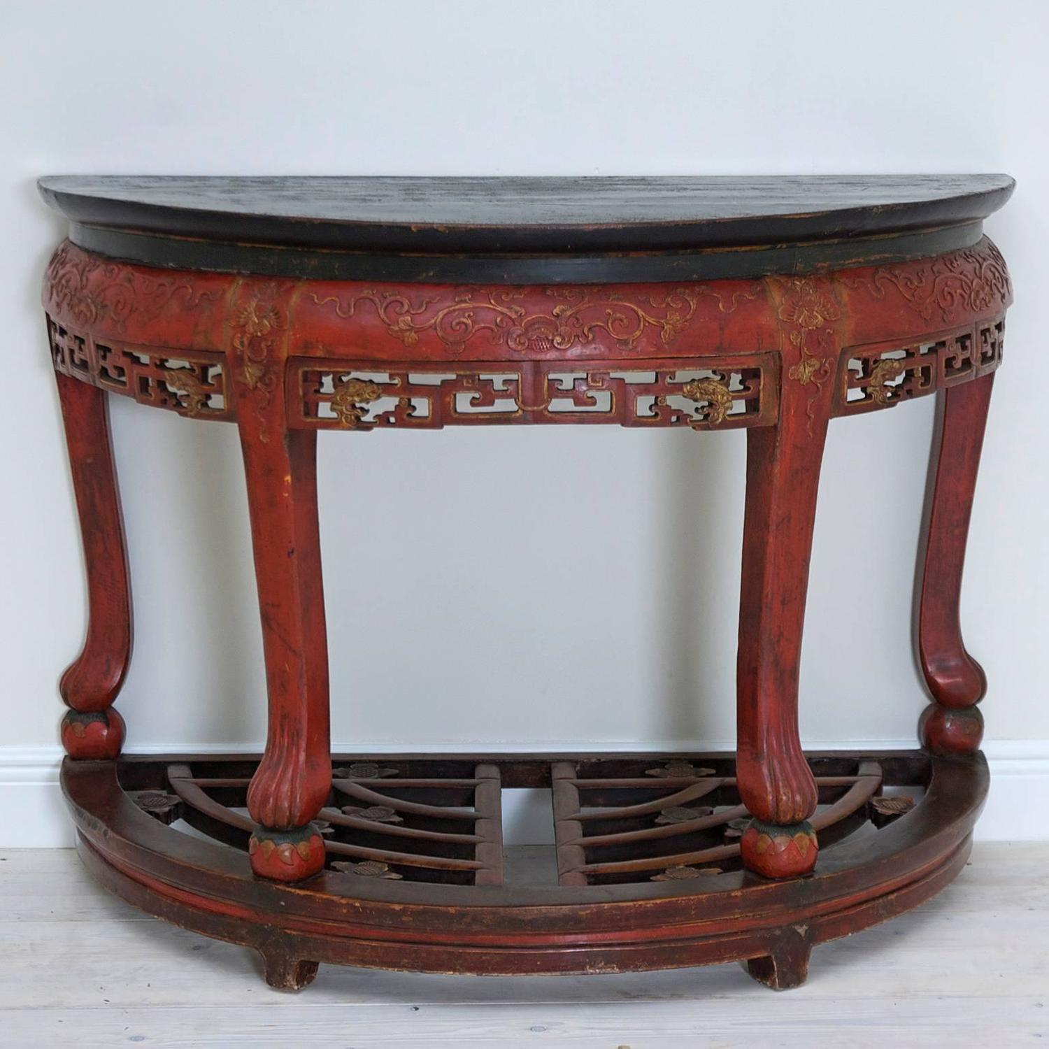 Antique Carved Red Lacquered Chinese Center Table Or Pair Of Demilune Tables