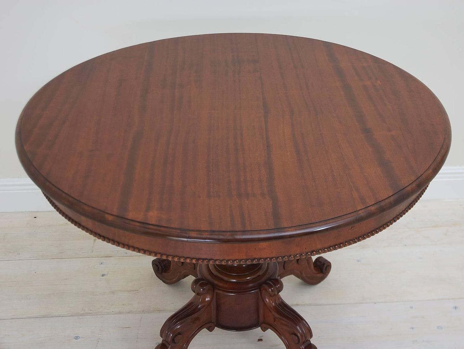 Antique French Louis Philippe Round Center Pedestal Table In Mahogany