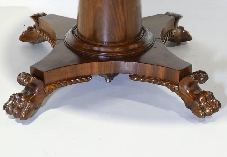 Round Empire Center Pedestal Dining Table With Four Extension Leaves Circa 1830